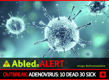 AbledALERT: OUTBREAK: Adenovirus: 10 Dead, 30 sick. Image shows computer animation of an Adenovirus.