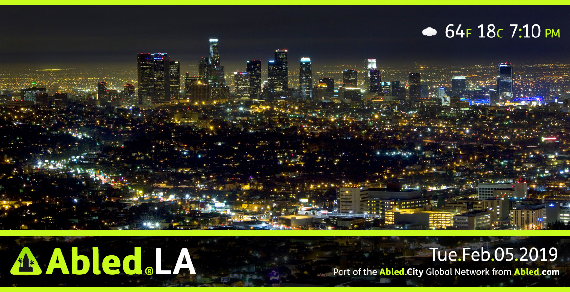 Abled.LA main banner. Image: Nightime shot of downtown Los Angeles with Text pf Temperature, Date and Time. Part of the Abled.City Global Network from Abled.com.