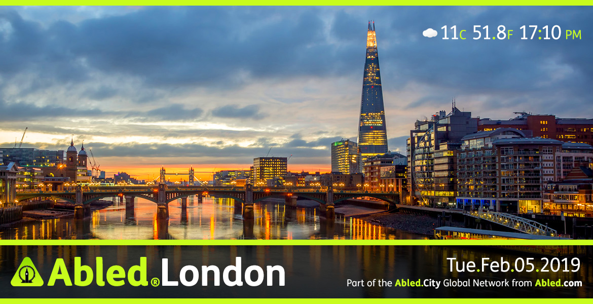 Abled.London main Banner. IMage: Photo of London at dusk looking from a bridge over the Thames River with the new Shard building on the right. Service information gives the time, date and weather.