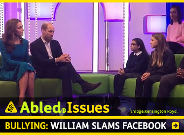 AbledIssues: Bullying: William slams Facebook. Image: Video still of the Duke and Duchess of Cambridge speaking to students about bullying in a BBC studio.