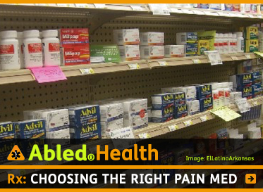 AbledHealth: Rx: Choosing the right pain med. Image: She;ves of pain medication in a store.