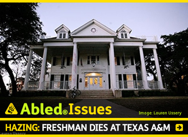 AbledIssues: Hazing: Freshman dies at Texas A and M. Image: Photo of the Phi Gamma Delta Fraternity house which is under suspension.