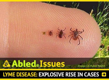 AbledIssues: Lyme Disease: Explosive rise in cases. Image: Photo of ticks on a forefinger near the ground show stages of growth.