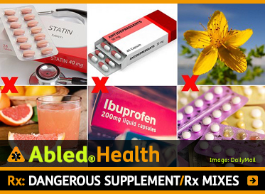 AbledHealth: mRx: Dangerous supplement / prescription mixers. Photo montage shows 6 photos. One of a box of Statins above a photo of grapefruit juice; another photo shows a box of anti-depressants above a box of ibuprofen; and a photo of a St. John's Wort Plant above a photo of packages of contraceptives.