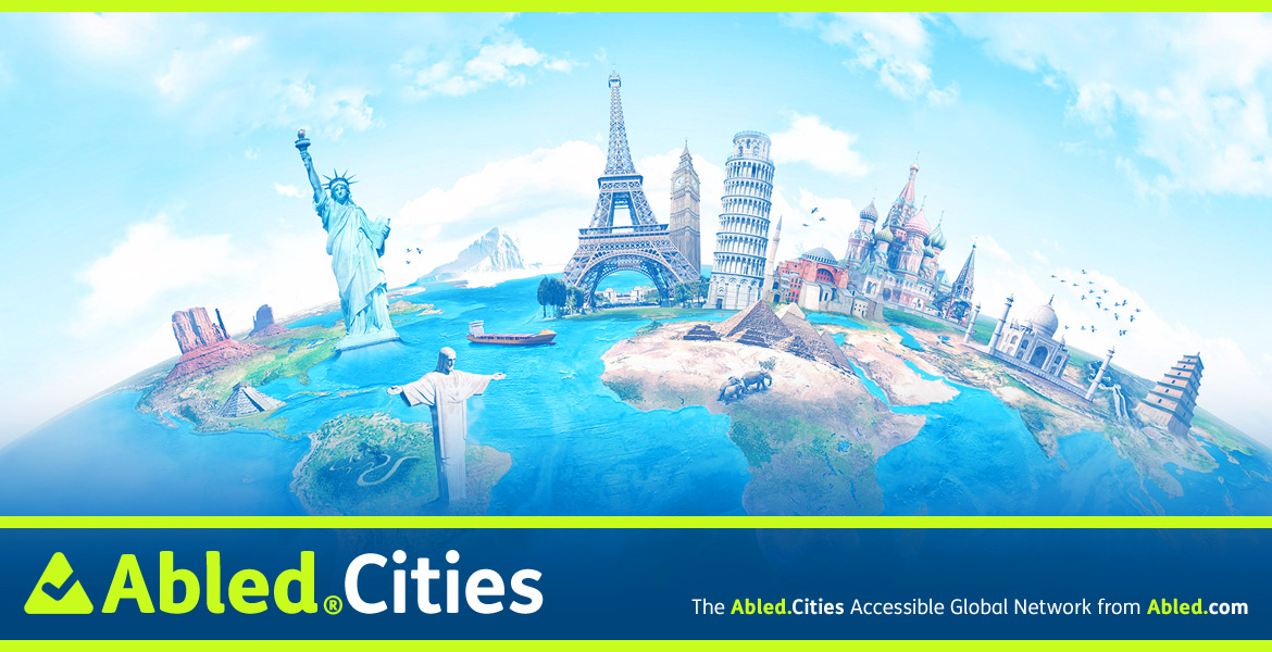Abled.Cities Banner-An illustrateion shows a curved Earth with landmarks from different cities curved around it in a distorted sense of proportion.