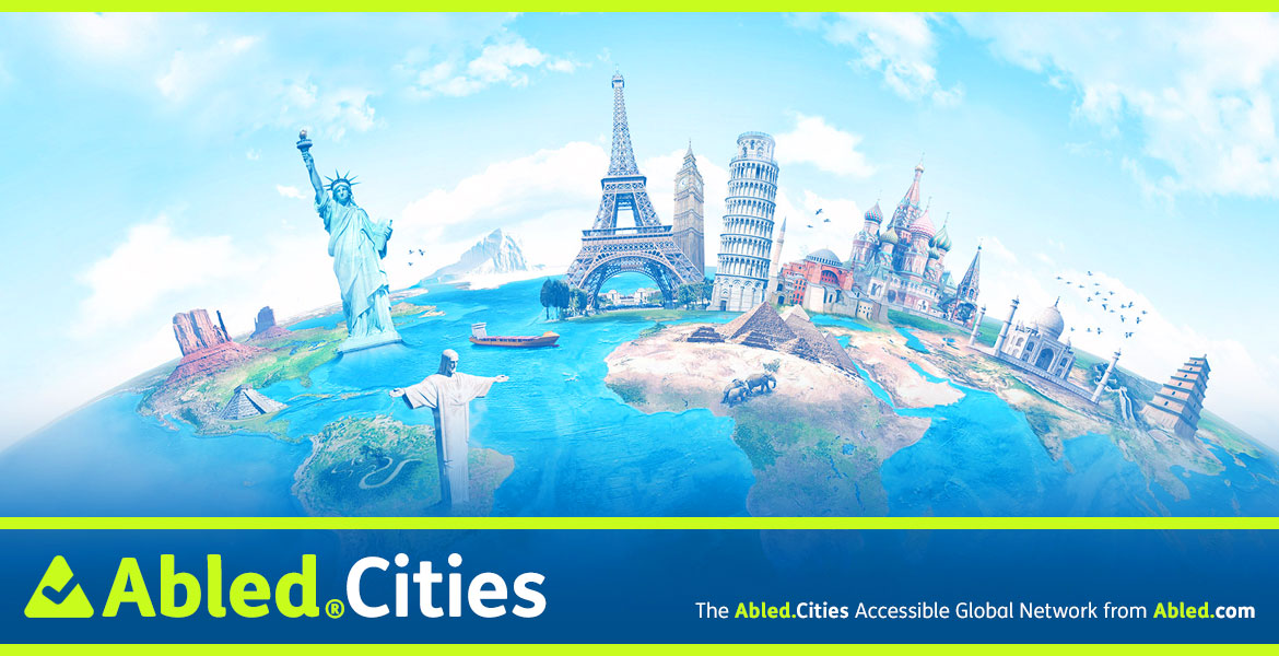 Abled.Cities banner shows an illustration of iconic landmarks such as the Statue of Liberty, the Eiffel Tower, Big Ben and so on placed on a curved globe.