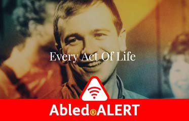 "Abled.ALERT: Video thumbnail photo of American playwright Terence McNally showing the title of a documentary about him ""Every Act of Life""."