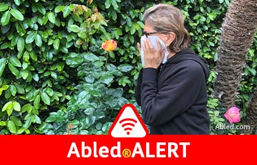 Abled.ALERT: Photo shows a woman sneezing into a handkerchief near flowers and bushes in her garden.