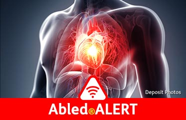 Abled.ALERT: Illustration of the heart and surrounding blood vessels in a transparent male torso.
