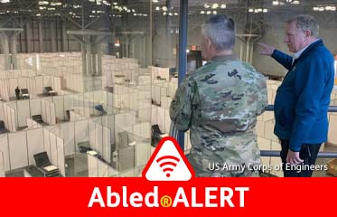 Abled.ALERT: Photo shows Lt. Gen. Todd Semonite, USACE Commanding General and 54th U.S. Army Chief of Engineers, looking down on the Jacob Javits Convention Center floor in New York City, where USACE is adapting 160,000 square feet of space over multiple floors to provide 1,000 beds for non-COVID-19 patients.