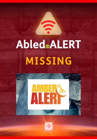 Abled.Alert: Missing. Image shows the Amber Alert logo over a background photo of a missing person.