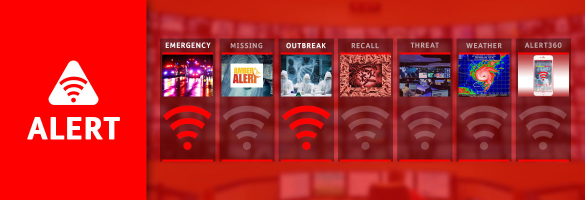 Abled Alert: Outbreak; Emergency. Images showing scientists in a lab and emergency vehicles on a street are highlighted along with two Alert beacons.
