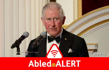 Abled.ALERT: Photo of Prince Charles of Great Britain speaking at a dinner.