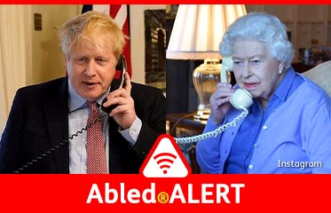 Abled.ALERT: Split screen photos of Queen Elizabeth and UK Prime Minister Boris Johnson speaking by telephone