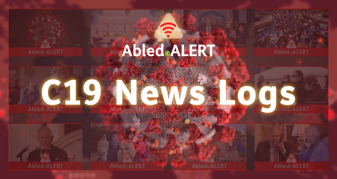 Abled.ALERT: C19 News Logs. Text against a 3D model of the COVID-19 virus in front of transparent news frames over a blurred hot spot map.