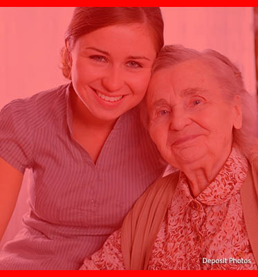 Stock photo of a young woman with an elderly woman.