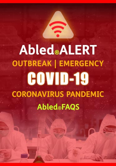 Abled.ALERT: Outbreak | Emergency: COVID-19 Coronavirus Pandemic. Abled.FAQS. Image: Lab workers in hazmat suits work at a desk.