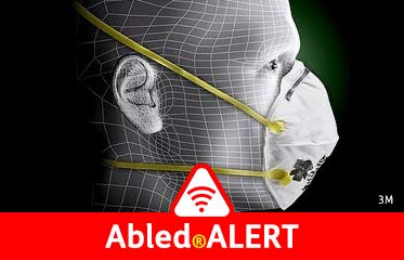 Abled.ALERT; Photo illustration closeup of a man wearing a 3M N-95 respirator mask with a digital relief pattern of lines on his head.