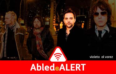 "Abled.Alert: Photo of the band ""Fountains of Wayne"" with Adam Schlesinger highlighted in a circle."