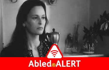 "Abled.ALERT: Frame from the film ""Nathalie Granger"" showing Italian actress Lucia Bosé with long black hair."