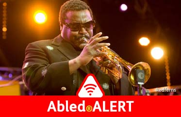 Abled.ALERT: Photo of Jazz trumpeter Wallace Roney performing in concert.