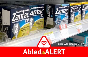 Abled.ALERT: Photo of boxes of Zantac sitting on store shelves.