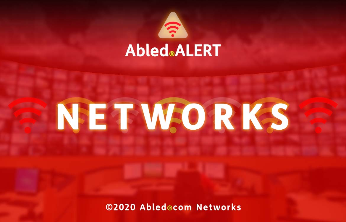 Abled.ALERT Networks banner. Logo and title set against a photo of a large Command and Control Center monitor wall. Copyright 2020 Abled.com Networks.
