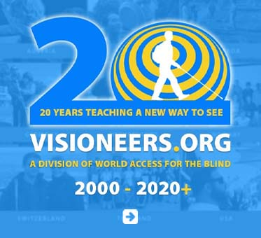 """Abled.PSA: Visioneers.org, a division of World Access For The Blind. 20 years teaching a new way to see. 2000-2020+. A silhouette of Daniel Kish is set against echolocation sonar waves as the numeral 0 in a large depiction of """"20"""" set against a montage of photos showing blind people learning click sonar echolocation over the years."""