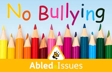 "Abled Issues. Image: Colored pencils are aligned together under the phrase ""No Bullying""."
