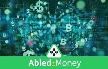 Abled.Money: Illustration of different types of currency icons zooming from the background to the foreground.