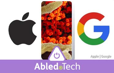 Abled.Tech: Composite image of Ablle and Google logos flanking an electron microscope image of coronavirus infection in human tissue.