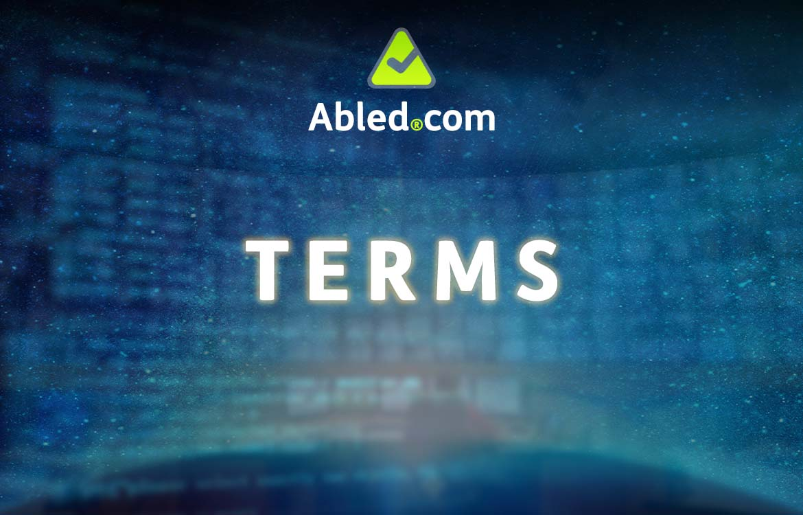 Abled.com Terms. Text set against bank of monitors blended with a transparent computer screen of data.