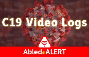 Abled.ALERT: C19 Video Logs link banner. Image: 3D Model of a coronavirus blends into a curved video wall background.