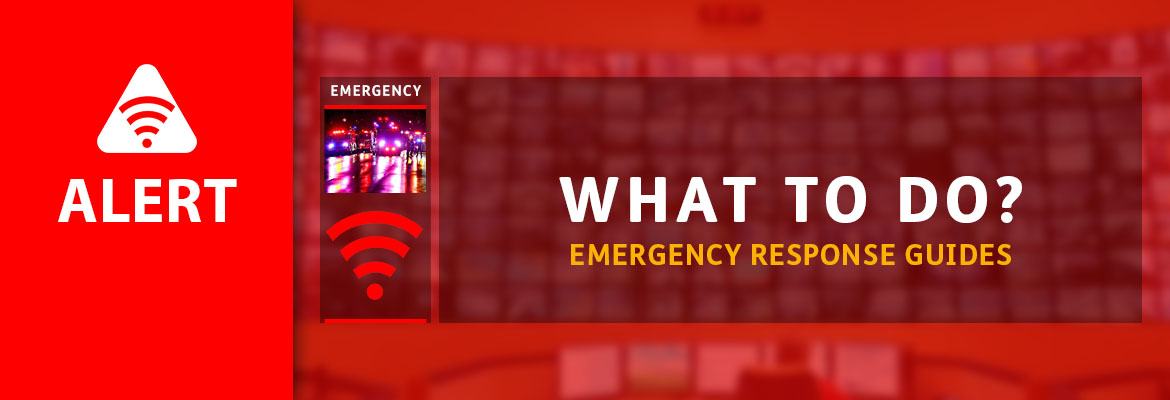 "Abled.ALERT: What To Do"" Emergency Response Guides. Image: Alert red beacon icon and photo of emergency vehicles with red lights flashing responding at night."