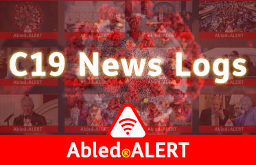 Abled.ALERT: C19 News Logs link banner. Image: 3D model of coronavirus blends into a montage of news images in the background.