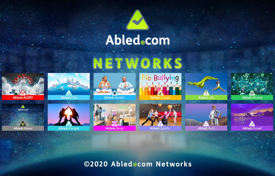 Abled.Networks: Abled.com Logo and text against a curved bank of monitors in a control room blended into a starry sky above the curve of the Earth. Each network is represented by a different name and color and their image is described in each module below this banner.