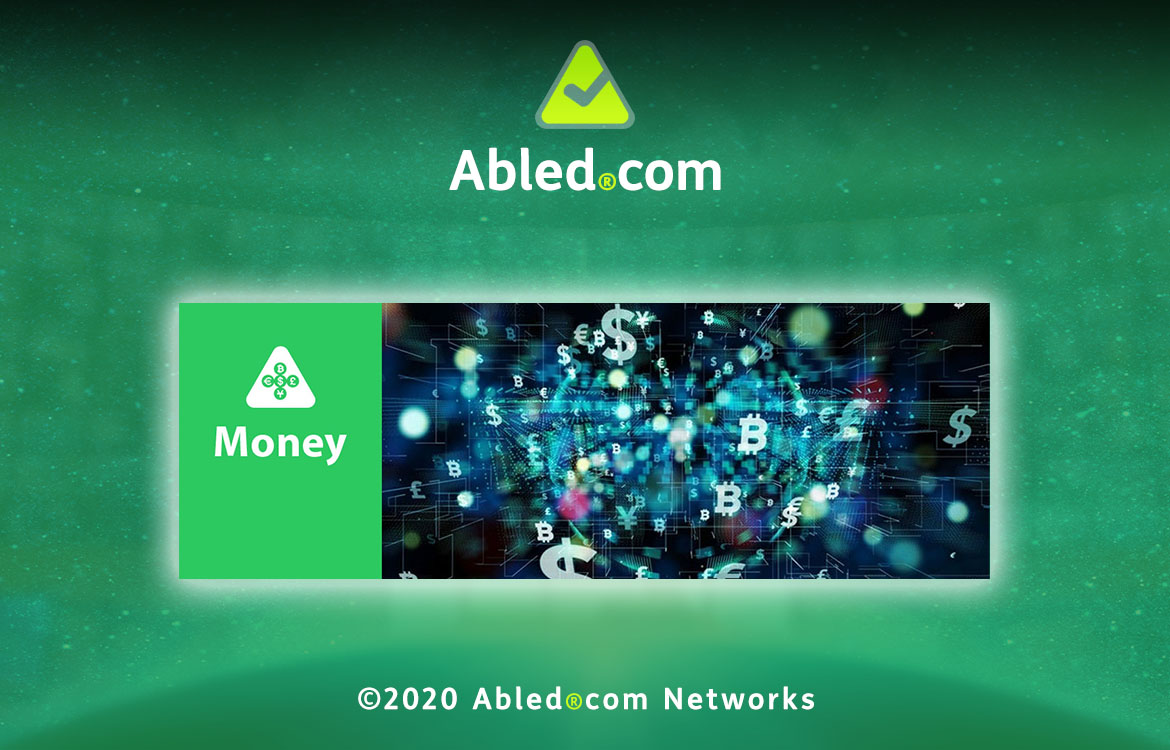Abled.Money Banner: Digital illustration of different currency icons zooming towards the screen.