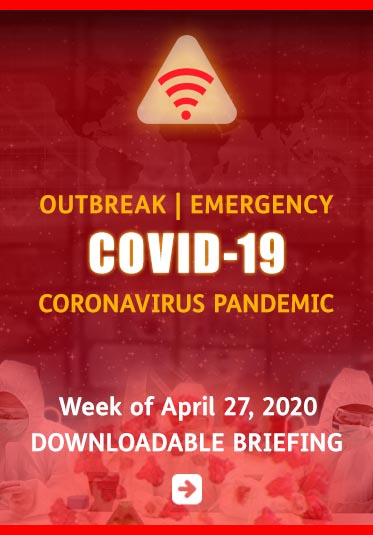 Abled.ALERT: Outbreak | Emergency: COVID-19 Coronavirus Pandemic. Week of April27, 2020 Downloadable Briefing. Background image of scientists working in a lab.