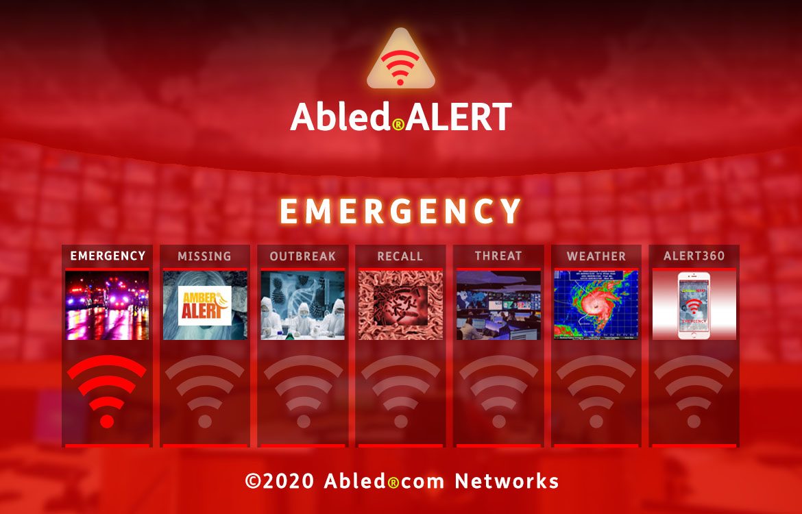 Abled.ALERT: EMERGENCY. Banner shows a photo of emergency vehicles with flashing red lights at night. The red beacon for Emergency is lit up while beacons for the other categories are muted. Their photos are described on their category pages.
