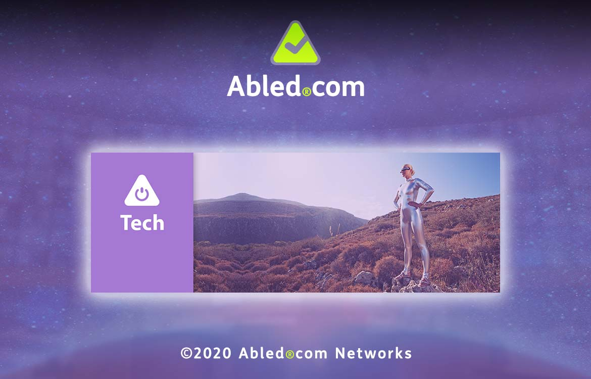Abled.Tech: Banner consisting of logo icons with an image of a woman dressed in a mylar suit wearing a Virtual Reality headset.