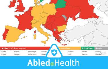 Abled.Health: Image of a map of Europe with country colors defined by whether they still have COVID-19 lockdowns in place, are easing them, or have no lockdowns.