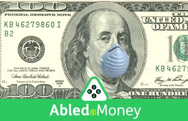 Abled.money: Illustration shows a blue -ridged respirator mask super-imposed on the face of Benjamin Franklin on the U.S. $100 dollar bill.