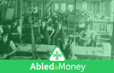 Abled.Money: Vintage photo of letterpress printing shop.