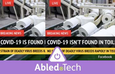 Abled.Tech: Photods of seemingly identical photo posts showing toilet paper being manufactured. One claims COVID-19 is found in toilet rolls, the other says it isn't.