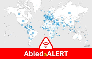 Abled.ALERT: Global map from the World Health Organization shows the number of COVID 19 cases represented by blue circles of various sizes tied to rate of infection.