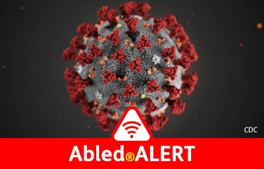 Abled.ALERT: 3 D model of SARS-Cov-2 coronavirus that looks like a round grey styrofoam ball with red flowery spikes sticking out of it.