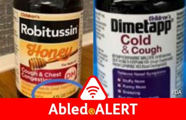 Abled.ALERT: RECALL: Photos of Children's Robitussin Honey Cough and Chest Congestion DM (4oz) from lot: 02177 (Exp. Jan. 2022) or lot 02178 (Exp. Jan. 2022). Children's Dimetapp Cold and Cough (8oz) from lot: CL8292 (Exp. Sep. 2021).