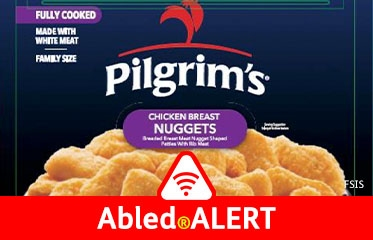 Abled.ALERT: RECALL: Photo of the box front of Pilgrim's Chicken Breast Nuggets showing a plateful of cooked nuggets.