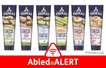 Abled.ALERT: Recall/Food/UK: Photo illustration of Primula Cheese spread tubes in different flavors as outlined in the recall information below.