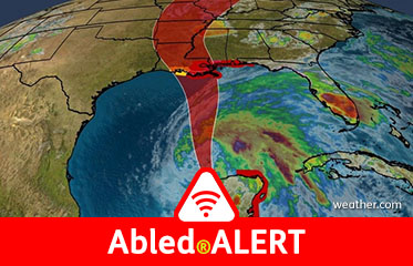 Abled.ALERT: Weather: Satellite map shows the projected path of tropical Storm Cristobal up the center of the Gulf of Mexico.